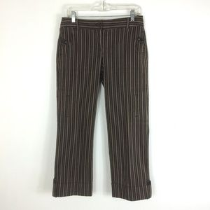 LOFT | Brown Striped Cotton Crop Herringbone Pants